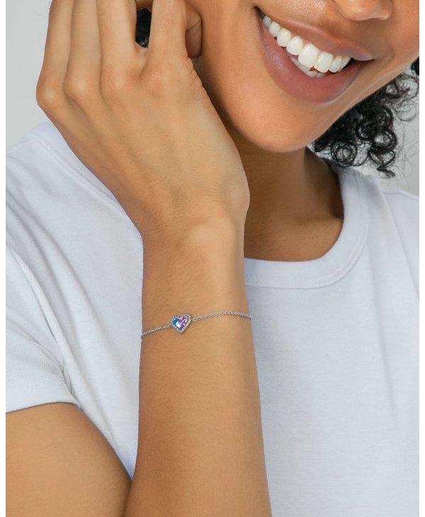 Ari Heart Silver Chain Bracelet in Platinum Drusy