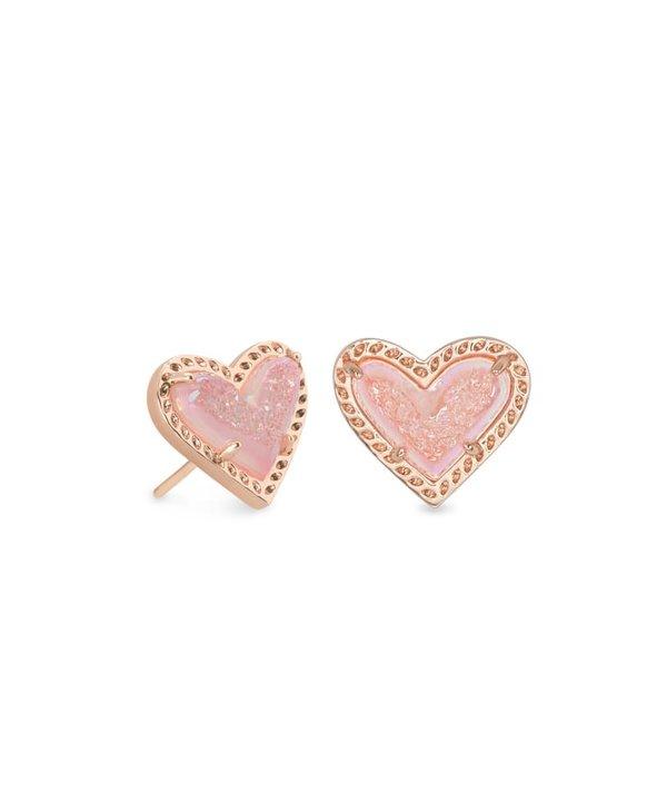 Ari Heart Rose Gold Stud Earrings in Light Pink Drusy
