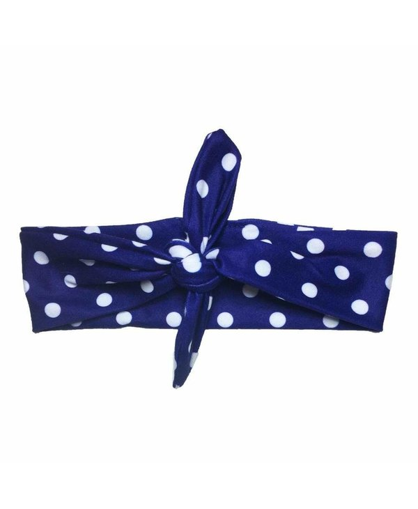 Blue Polka Dot Knotted Headband