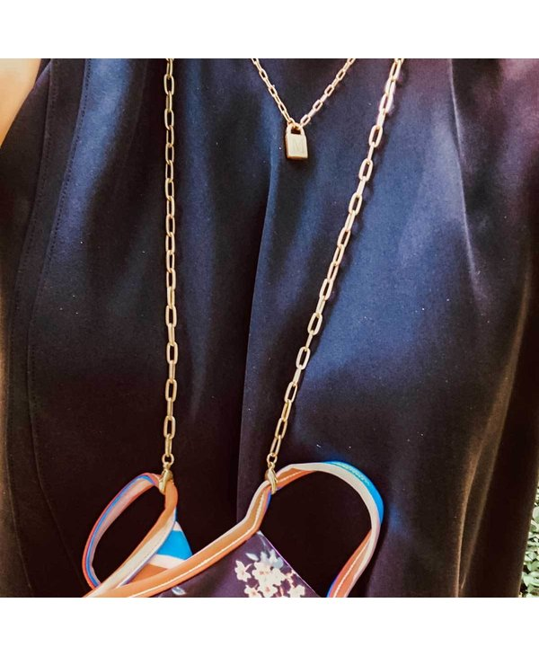 """Soleil Medium Paperclip 32"""" Chain Mask Necklace in Gold"""