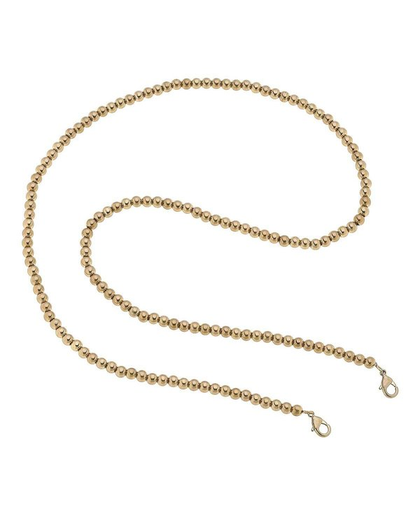 """Soleil Ball Bead 32"""" Mask Chain Necklace in Gold"""