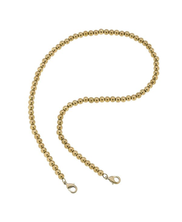 """Soleil Ball Bead 20"""" Mask Chain Necklace in Gold"""