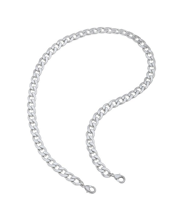 """Soleil Bold Curb 20"""" Chain Mask Necklace in Silver"""
