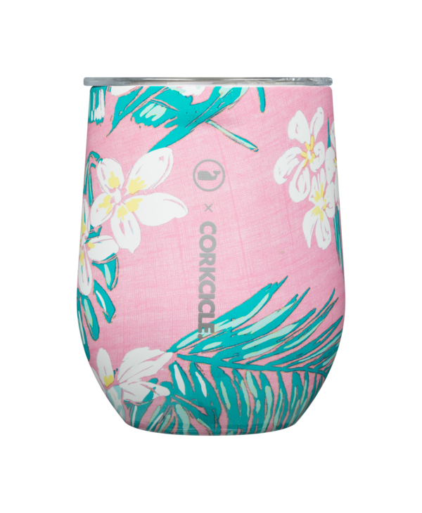 12oz Stemless in Vines Tropical Flowers