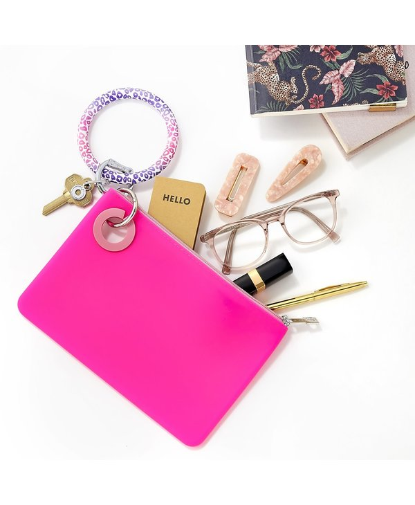 Silicone Big O Key Ring in Pink Cheetah