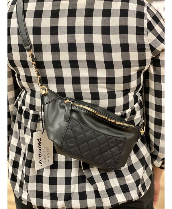 Black Quilted Nylon Sling Bag with Gold Chain