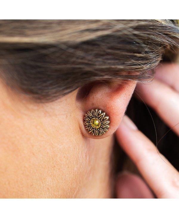 Sunflower Stud Earrings in Silver