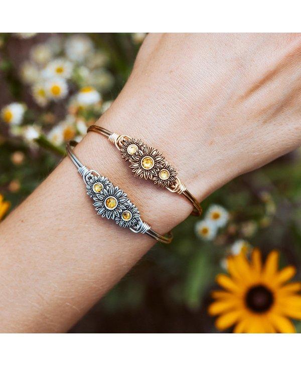 Sunflowers Bangle Bracelet in Gold