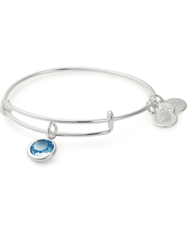March Birthstone, Aquamarine Charm Bangle