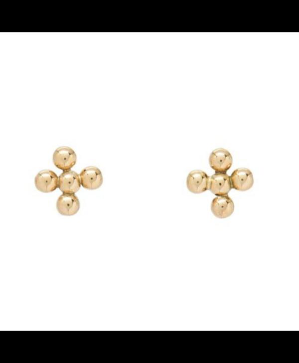Classic 3mm Beaded Signature Cross Stud Earrings
