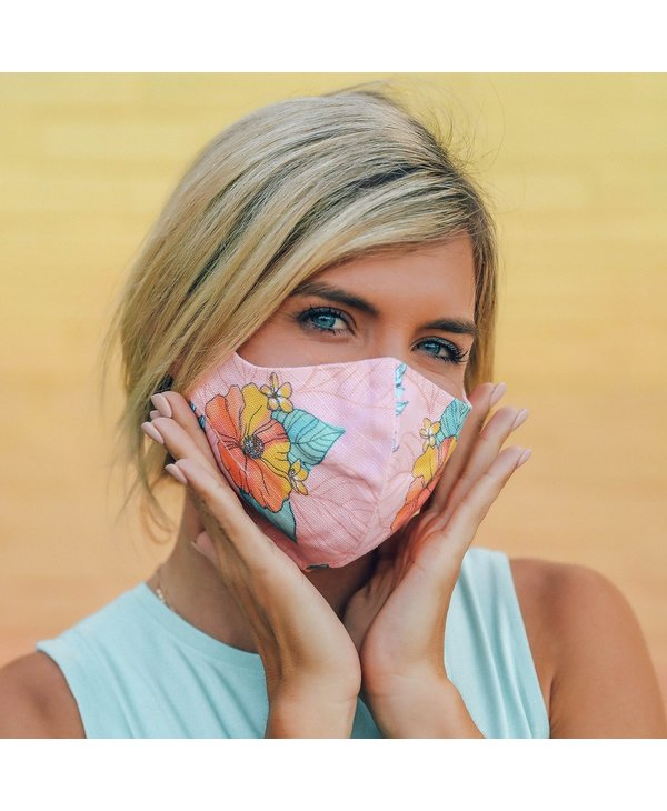 Face Mask in Coral Hibiscus
