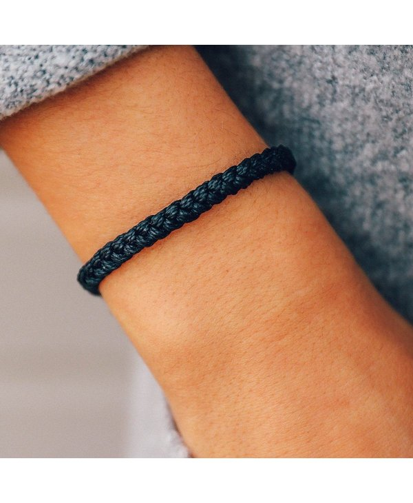 Black Solid Braided Bracelet