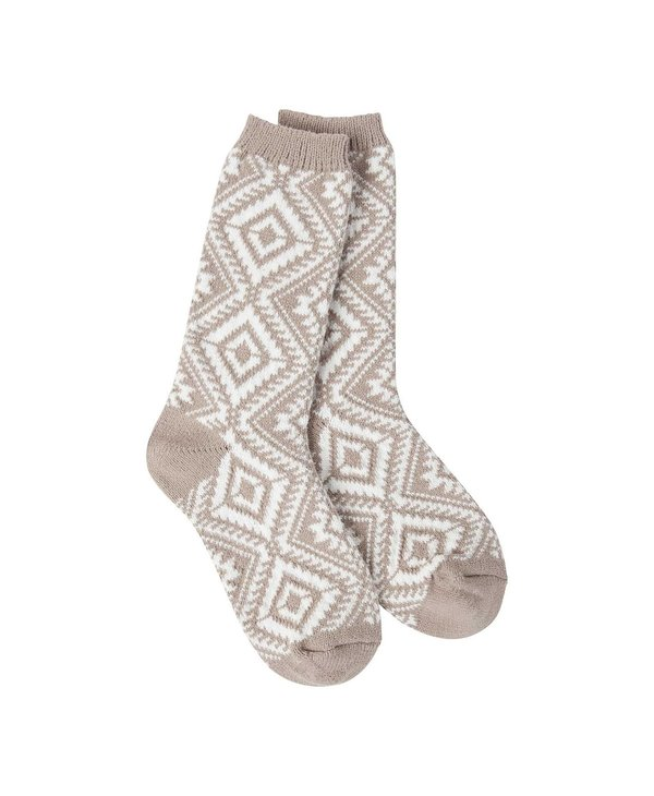 Gallery Aztec Crew Sock in Taupe
