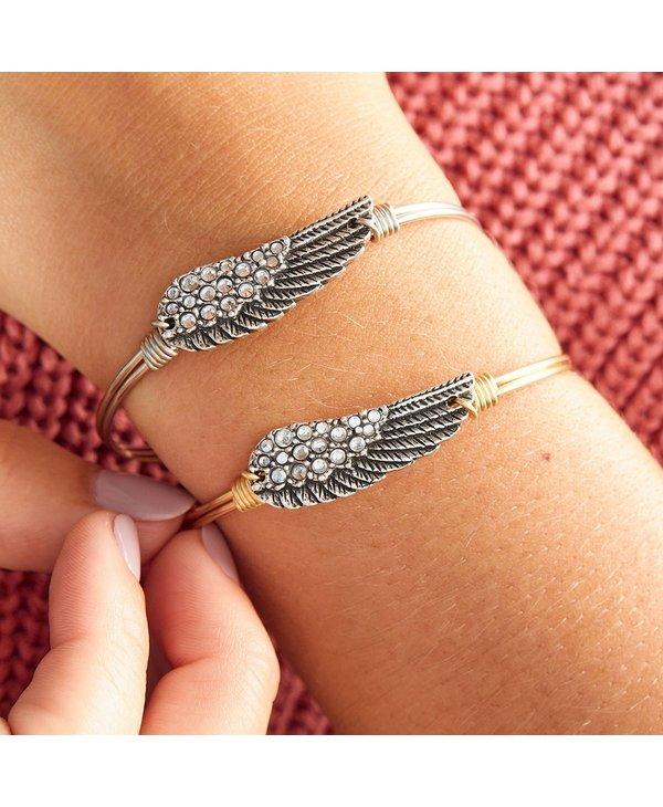 Crystal Angel Wing Bangle Bracelet in Silver