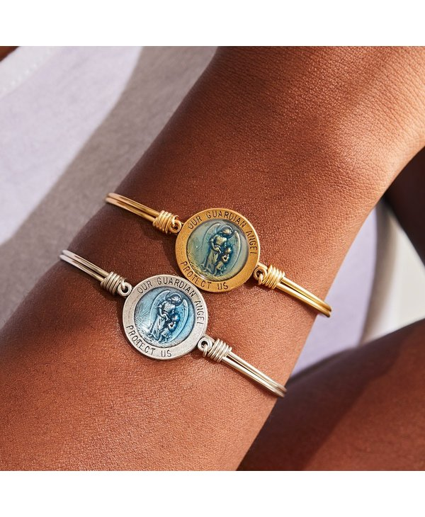 Guardian Angel Token Bangle Bracelet in Gold