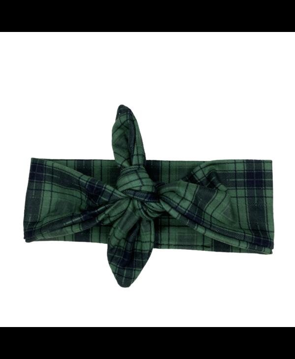 Green Plaid Knotted Headband
