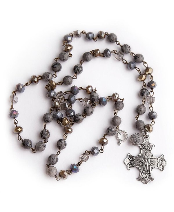 Agate Rosary Chain Necklace with Silver Sacred Heart & Pave Droplet