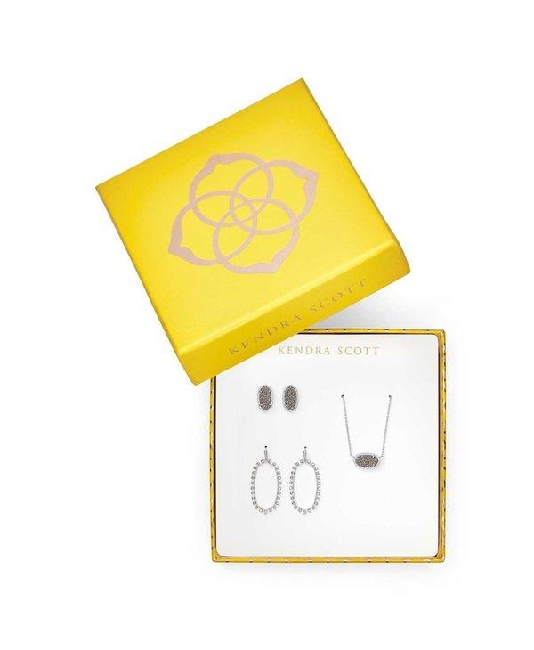 Elisa Necklace, Ellie Earrings, & Elle Open Frame Earrings Gift Set