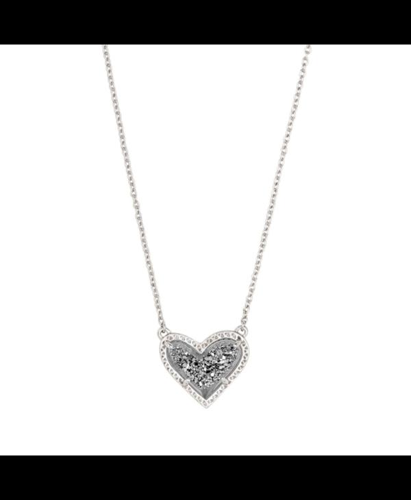Ari Heart Silver Pendant Necklace in Platinum Drusy