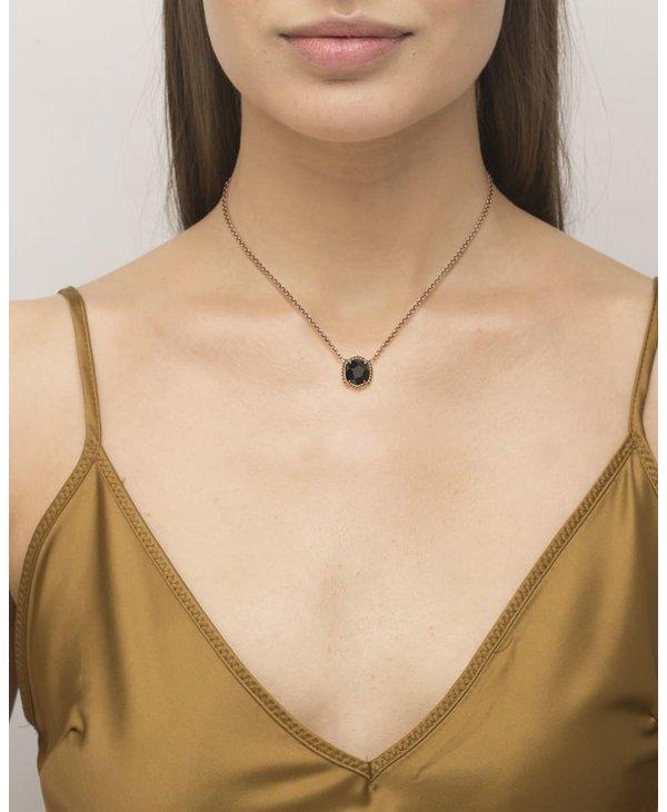 Davie Vintage Gold Pendant Necklace In Golden Obsidian