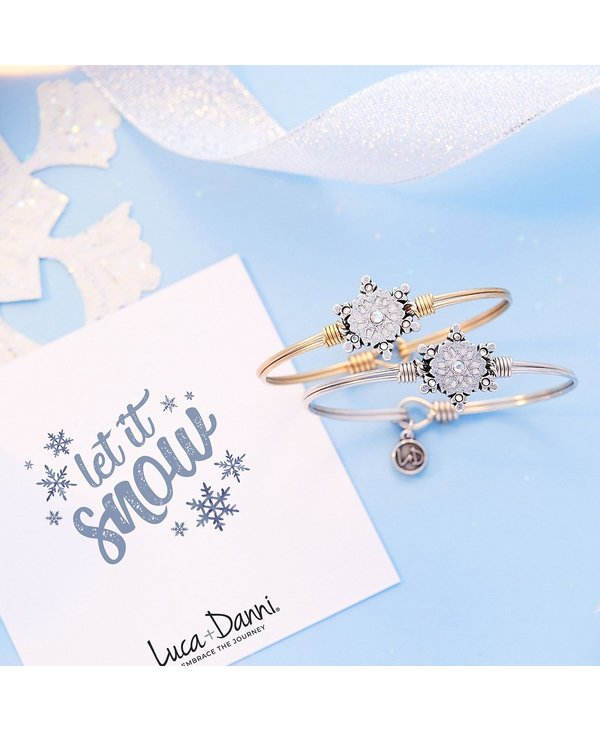 Sparkling Snowflake Bangle Bracelet in Gold