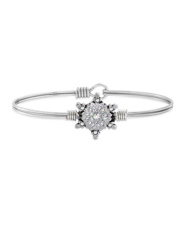 Sparkling Snowflake Bangle Bracelet in Silver