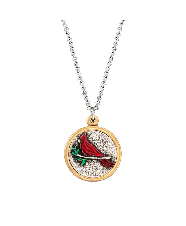 Red Cardinal Necklace in Silver