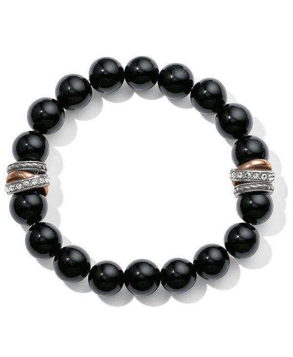 Neptune's Rings Black Agate Stretch Bracelet