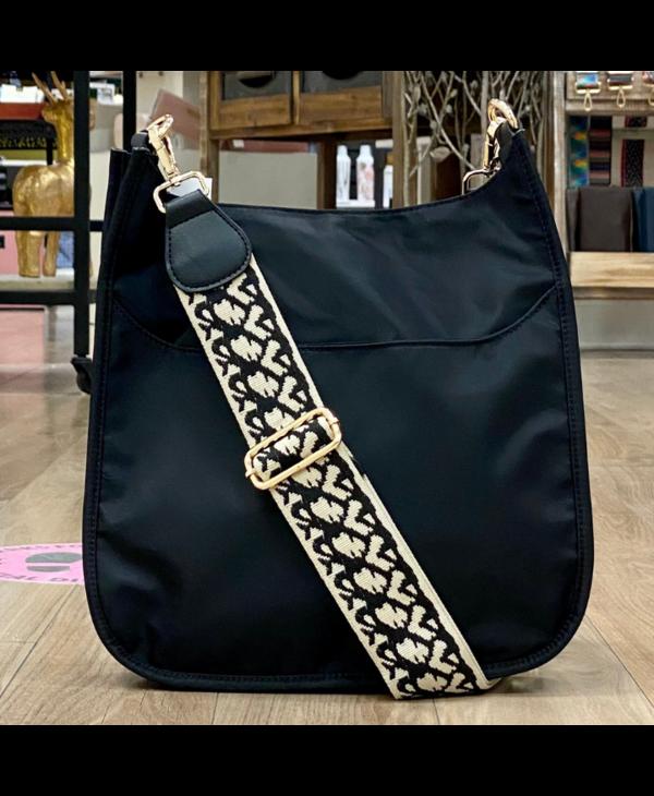 Black Nylon Messenger Bag with Cream Print Strap - Gold Hardware