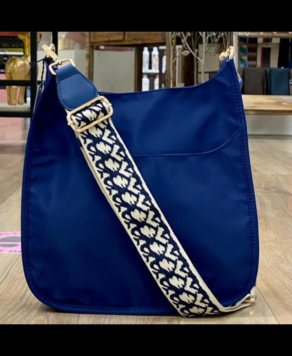 Navy Nylon Messenger Bag with Cream Print Strap - Gold Hardware