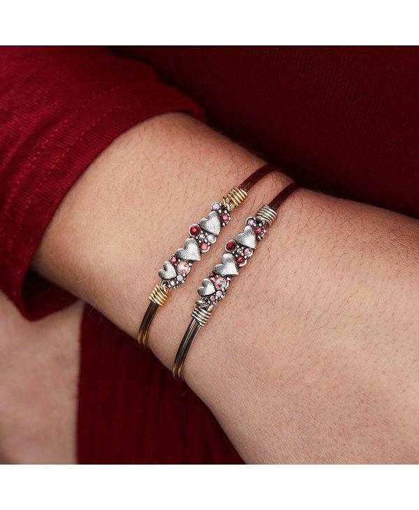 Heart Medley Bangle Bracelet in Silver