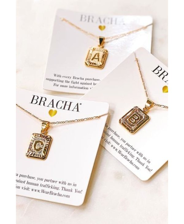 Gold Filled Initial Card Necklace - Letter E
