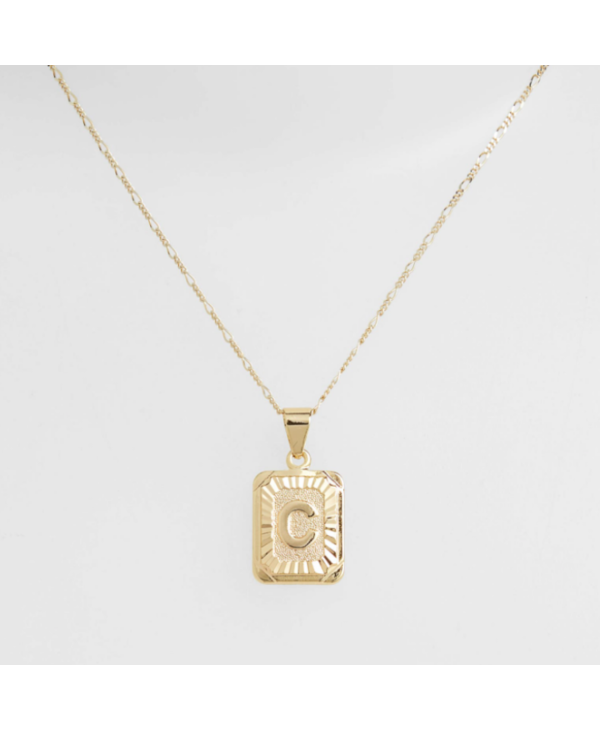 Gold Filled Initial Card Necklace - Letter C