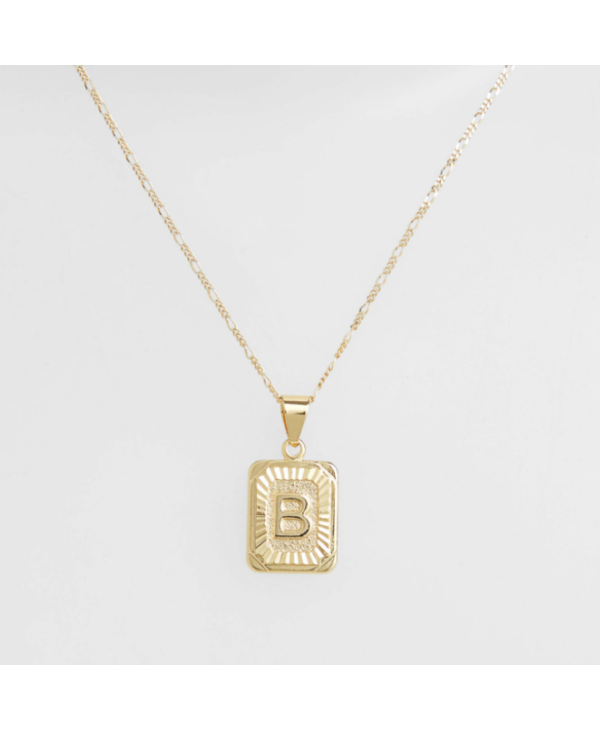 Gold Filled Initial Card Necklace - Letter B