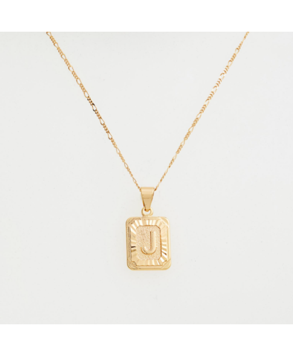 Gold Filled Initial Card Necklace - Letter J