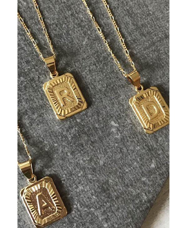 Gold Filled Initial Card Necklace - Letter T