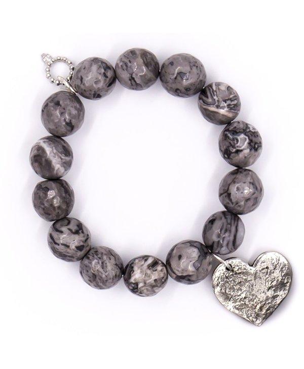 Hammered Silver Heart Bracelet (large)