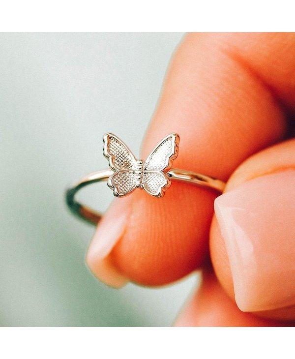 Butterfly in Flight Ring in Silver