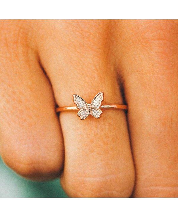 Butterfly in Flight Ring in Rose Gold