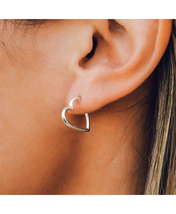 Heart Hoop Earrings in Silver