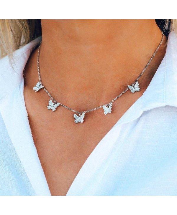 Butterfly in Flight Choker in Silver