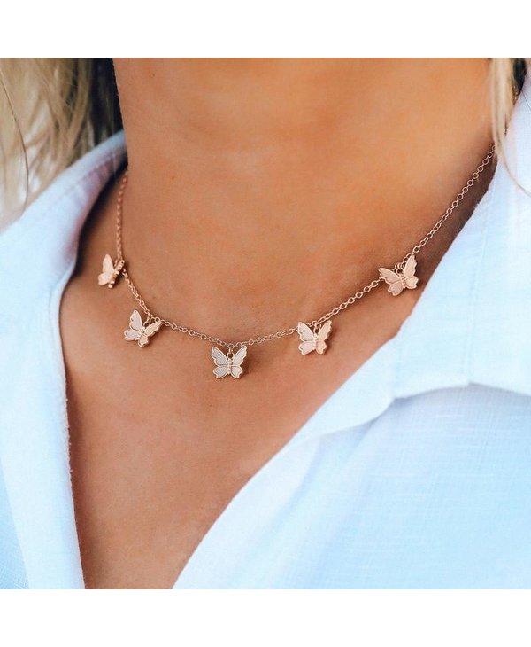 Butterfly in Flight Choker in Rose Gold