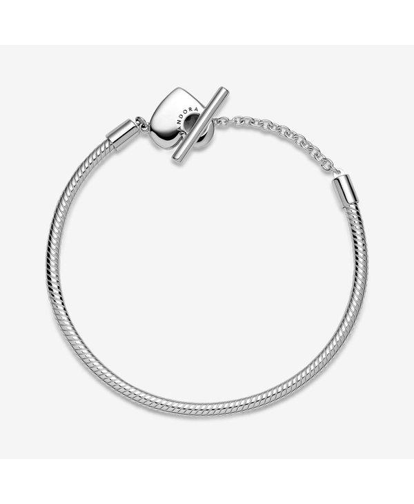 Moments Heart T-Bar Snake Chain Bracelet