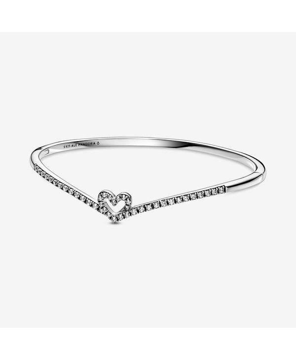 Sparkling Wishbone Heart Bangle