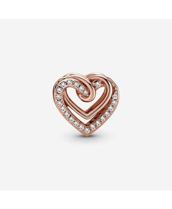 Rose Gold Sparkling Entwined Hearts Charm