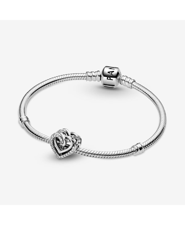 Silver Sparkling Entwined Hearts Charm
