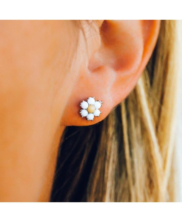 Gemstone Daisy Earrings