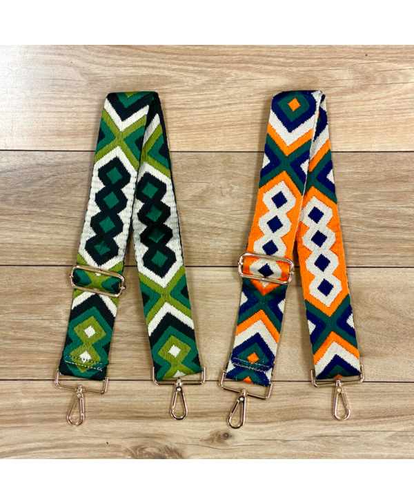 Aztec Embroidered Bag Strap - Gold Hardware