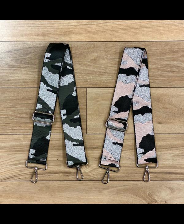 Camouflage Bag Strap - Silver Hardware