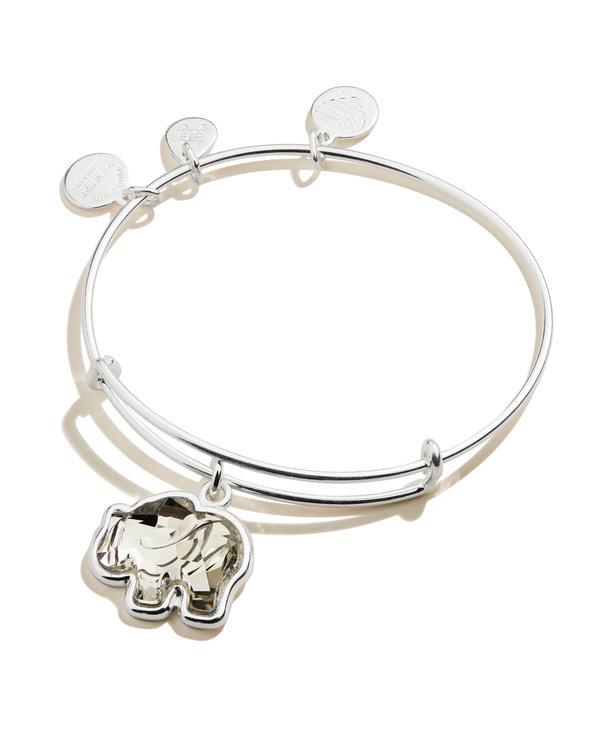 Crystal Elephant Charm Bangle